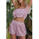 Pretty Ladies Pink Sleeveless Ditsy Floral Bow Tie Open Back Ruffled Fit Crop Top & Relaxed Shorts Co-Ords