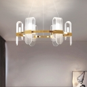 Postmodern Wheel Metal Pendant Chandelier 6 Heads LED Hanging Light Kit in Gold with Arched Acrylic Shade