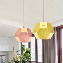 Macaron Origami Globe Suspension Lamp Iron 1 Bulb Dining Room Ceiling Pendant Light in Pink/Yellow