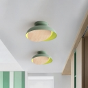 Bowl Shape Iron Ceiling Flush Macaron Pink/Yellow/Green LED Flushmount Lighting with Adjustable Wood Cover for Foyer