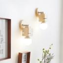 Mini Cuboid Rotating Wall Lamp Minimalist Wood Single Beige Sconce Light with Exposed Bulb Design