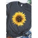 Leisure Womens Roll Up Sleeve Crew Neck Sunflower Printed Slim Fitted T Shirt in Gray