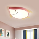 Fish-Shape Flush Ceiling Lighting Cartoon Acrylic LED Bedroom Flush Lamp Fixture in White/Pink/Blue