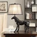 1-Light Pleated Fabric Table Light Rural Black Horse Living Room Nightstand Lamp