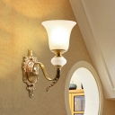 1-Light Ivory Glass Sconce Ideas Traditional Brass Bell Stairway Wall Mount Light with Undulated Arm