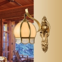 Brass Dome Wall Sconce Vintage Matte Glass 1/2-Light Lounge Wall Light Fixture with Scalloped Edge