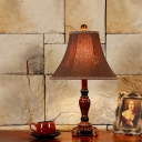 Retro Flare Nightstand Light 1-Light Fabric Table Lighting with Braided Trim in Brown