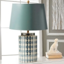 Tapered Shade Parlor Table Lamp Rural Ceramic Single Green Night Stand Light with Quatrefoil Element