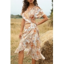 Gorgeous Ladies Short Sleeve Surplice Neck Bow Tie Waist All Over Flower Print Ruffled Trim Midi Wrap Dress in Orange