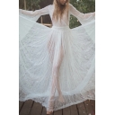 Gorgeous White Bell Sleeve Surplice Neck See-Through Lace Open Back Maxi Pleated Flowy Dress for Ladies