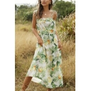 Summer Womens Sleeveless Bow Tie Shoulder All Over Floral Print Ruffled Trim Maxi A-Line Cami Dress in Green