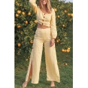 Fashionable Womens Plain Blouson Sleeve Square Neck Button Up Fit Crop Top & High Cut Side Long Wide-Leg Pants Set