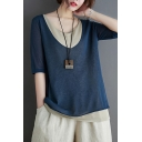Trendy Womens Three-Quarter Sleeve Round Neck Linen and Cotton Patchwork Color Block Relaxed Fit T-Shirt