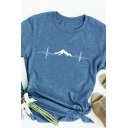 Simple Girls Roll Up Sleeve Crew Neck Mountain Heartbeat Pattern Slim Fit T Shirt
