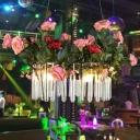3 Lights Chandelier Rural Flower Tube Clear Glass Hanging Pendant for Restaurant