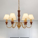 6/8-Light Chandelier Lighting Vintage Cone White Fabric Pendant Lamp Kit with Brass Gooseneck Arm