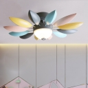 Flower Flush Mount Ceiling Light Macaron Iron Bedroom LED Flushmount Lighting in Grey, Warm/White Light