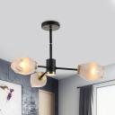 Gem Semi Flush Mount Chandelier Modern Frosted Glass 3 Heads Living Room Ceiling Light in Black