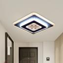 Modern Rhombus Flush Light Fixture Acrylic LED Corridor Flush Mount in White and Black with Grid Pattern