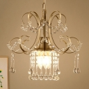Gold Swirling Chandelier Victorian Iron 3-Light Dining Room Hanging Lamp with Draping Crystal Drops