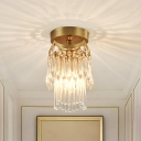 Crystal Drop 2 Tiers Semi Mount Lighting Modernist 1 Bulb Bedroom Ceiling Flush Light in Brass
