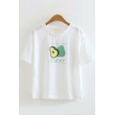Girls Popular Japanese Letter Avocado Graphic Short Sleeve Round Neck Loose Fit T-Shirt in White