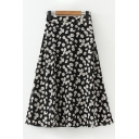 Womens Chic Daisy Floral All over Printed Elastic Waist Long A-Line Skirt