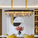 10 Lights Oblong Island Lighting Loft Style Black-Gold Tiered Crystal Droplet Hanging Lamp over Dining Table