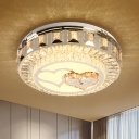 Crystal Prism Ring Ceiling Lighting Modern LED Bedroom Flush Light with Double Heart Pattern in Chrome
