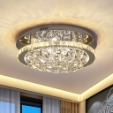 Ring Crystal Ball Semi Flush Mount Modern LED Bedroom Flush Ceiling Light in Chrome