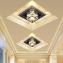 Clear Crystal Square Ceiling Light Minimalist LED Corridor Flush Mount Recessed Lighting