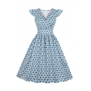 Pretty Womens Ditsy Floral Printed Ruffled Sleeveless Surplice Neck Mid Pleated Flared Dress