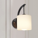 1 Light Indoor Wall Lighting Modernism Black Finish Wall Mount Lamp with Cylinder Opal Glass Shade
