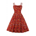Girls Red Ditsy Floral Patterned Strappy Pretty Midi Pleated Swing Cami Dress