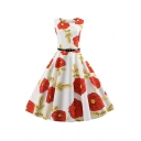 Audrey Hepburn Style All over Flower Mixed Cartoon Plaid Pattern Sleeveless Round Neck Belt Mid Pleated Swing Dress for Ladies