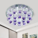 Crystal Purple Flush Mount Light Cylinder LED Modern Flushmount Lighting in Warm/White Light