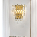 2 Bulbs Crystal Teardrop Flush Mount Retro Gold 4-Tier Parlor Wall Mount Lighting Fixture