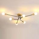 Gold and Black Sputnik Linear Semi Flush Light Modernist 6 Bulbs Metal Ceiling Mounted Fixture