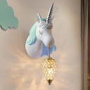 Unicorn Shape Resin Wall Light Fixture Cartoon 1-Light Blue/Pink Sconce Lamp with Teardrop Crystal Shade, Right/Left