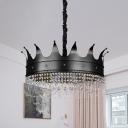 Crown Shaped Chandelier Pendant Light Kids Metal 4/5/6-Light Black Finish Suspension Lamp with Crystal Drop