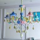 Candle Girls Bedroom Hanging Chandelier Crystal 6 Heads Kids Pendant Light Fixture in Blue