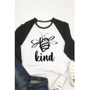 Leisure Womens Raglan Long Sleeve Crew Neck Letter BEE KIND Bee Graphic Colorblock Relaxed Fit T Shirt