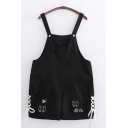 Leisure Womens Sleeveless Chinese Letter Cat Graphic Lace Up Relaxed Fit Suspender Shorts