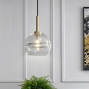 Modernist Sphere Hanging Lamp Clear/Smoke Gray Ruffle Glass 1 Light Living Room Pendant Lighting