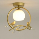 Black/Gold Finish Ring Semi-Flush Mount Modernist 1-Head Metal Ceiling Flush with Bird and Crystal Deco