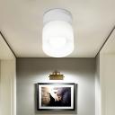 Cylinder Flushmount Lighting Simple White Glass 1 Bulb Bedroom Flush Mount Ceiling Lamp
