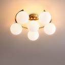 Cream Glass Ball Semi Flush Light Fixture Modernist 3/6/8-Light LED Flushmount Lamp in Gold with Moon Design