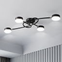 Black Drum Shaped LED Flush Light Contemporary Acrylic Semi Flush Mount Ceiling Fixture with Twisting Branch for Living Room