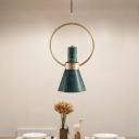 Flared Drop Pendant Light Nordic Marble 1 Bulb Green Ceiling Suspension Lamp with Gold Ring