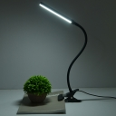 Metallic Tube Clip on Reading Light Simple LED Flexible Desk Lamp in Black with Plug In Cord